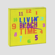 LIVIN' ON BEACH TIME Wood Wall Clock Natuical Tropical Coastal Decor