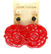 Kenneth Jay Lane KJL Red Carved  Deco Design Earrings