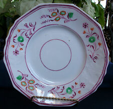 PINK LUSTRE GOTHIC 1840's ENGLAND- PLATE(s)- MULTI SIDED!! FLORAL!! EXCELLENT!!
