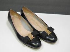 Salvatore Ferragamo Boutique Kitten Heels 7AA Black Patent Leather Bow Gold Logo
