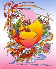 PETER MAX POSTER- ORANGE HEART- BRIGHTLY COLORED -A RARE FIND