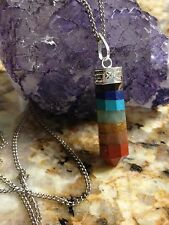Seven 7 CHAKRA Pencil Point PENDANT Necklace Healing Crystal Gemstone Jewelry