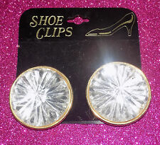 "1980s Huge 1.5"" Round Vtg NOC Pair Clear Faceted Rhinestones+Gold Shoe Clips"
