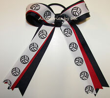 Volleyball Ponytail Holder Bow Red White Blue Ribbon Girls Game Hair Accessory