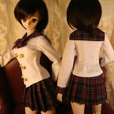 New 1/3 1/4 BJD MSD LUTS PULLIP Clothes White Shirt+Gird Pleated Skirt Uniform