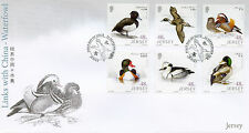 Jersey 2016 FDC Links with China Waterfowl 6v Set Cover Ducks Birds Stamps