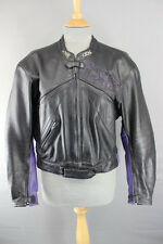 IXS BLACK & PURPLE LEATHER BIKER JACKET WITH REMOVABLE ARMOUR 40 INCH