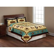 Quilt King Size Southwest Design Native Bedding Cover Brown And Blue Pretty NEW