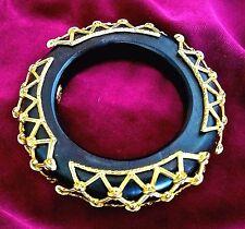 ~WOW! 1980's VTG Dominique Aurientis Paris Black & Gold Bangle BRACELET Signed