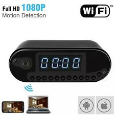 HD 1080P Wireless Wifi IP Spy Hidden Camera Motion Security Alarm Clock IR DV BG