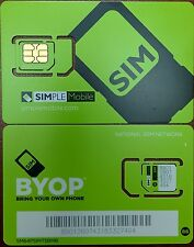 PREPAID Simple Mobile DUAL SimCard REG/MICRO USE TMOBILE TOWER, IPHONE2G/3G/4/4S