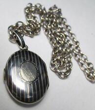 Antique Victorian Sterling Silver Niello Striped Locket Mourning Belcher Chain