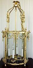 Stately French Gilt Bronze Ornate Lantern Chandelier Foyer Hall Ceiling Fixture
