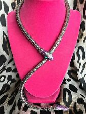 Betsey Johnson Vintage Purple Glitter Silver Metal Crystal Snake Wrap Necklace