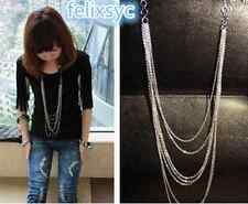 Vintage Style Silver 7 layer Long Tassel Pendant Necklace Sweater Chain Love Gif