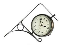 New Weathereye 26cm Outdoor Garden Clock & Thermometer on Wall Bracket - WEA6