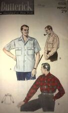 NEW + VINTAGE 1940'S BUTTERICK  MENS SHIRT SEWING PATTERN 6318 - SIZE MED