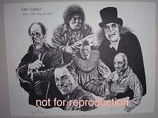 Lon Chaney Sr. drawing in film roles, original signed and numbered lithograph