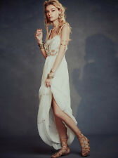 136100 $400 Free People White Artemis Maxi Embellished Embroidered Long Dress XS