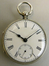 GENTS ANTIQUE SILVER FUSEE MOVEMENT POCKET WATCH LONDON 1890 - 110 GRAMS