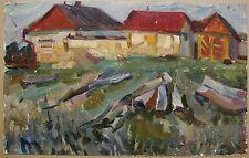 Russian Ukrainian Soviet Oil Painting Village
