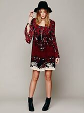 Free People Modern Chinoise Red Floral Boho Festival Dress XS Rare $148