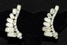 Vintage Weiss White Baguette Rhinestone Clip Earrings Curved in Same Direction