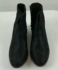 Mossimo Womens Black Ankle Boots Size 11 Med Cuban Heel Western Style