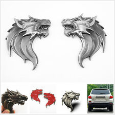 Metal 3D Wolf Head Emblem Stickers Badge Left & Right For Jeep Compass Wrangler