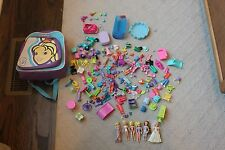 Large Polly Pocket Lot 6 Dolls Scooter Car Sunglasses Backpac Clothes Furniture