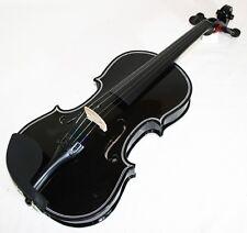 schwarze 4/4 Geige / Violine & Koffer, Gurt, Bogen