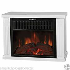 "13"" Mini Portable Freestanding 2 Setting White Electric Fireplace Stove Heater"