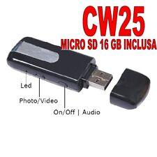 PENDRIVE SPIA NASCOSTA USB SPY MICROCAMERA VIDEOCAMERA + MICRO SD 16GB CW25 A+