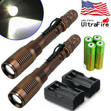 2 Sets 6000 Lumens 5 Modes CREE XML T6 LED Flashlight 18650 battery +Charger US