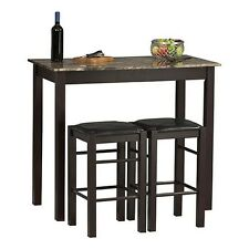 Kitchen 3 Pc Bistro Pub Dining Set Faux Stone Table Padded Chair Wood Espresso