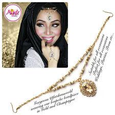 Head Hair Piece Indian Costume Jewellery Matha Patti Scarf Hijab Gold Champagne