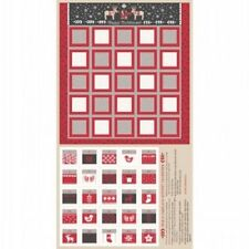 WHEN I MET SANTA'S REINDEER RED & BLACK CHRISTMAS ADVENT CALENDAR FABRIC PANEL