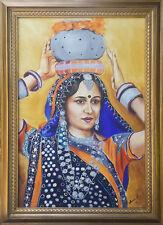 Indisches Portrait-Ölgemälde handgemalt mit Rahmen Signiert 105x75cm