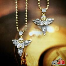 14k Gold Finish Double Angel Pendant Chain Necklace Set .925 Silver Hip Hop Iced