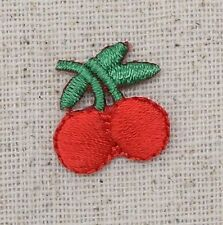 Iron On Embroidered Applique Patch - Small Mini Red Cherries Cherry