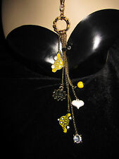 BETSEY JOHNSON NYC YELLOW CAB HEART SLOW DOWN CHARM NECKLACE