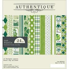 """Authentique ~ LUCKY ~ 6"""" x 6"""" Paper Pad 24 sheets LUC008 (HTF)"""