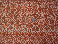 1 1/4 yds  Orange Damask on Cream Cotton Fabric