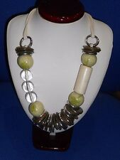 Chunky Necklace in Light Green, Brown & Cream with Triple Lace Chain
