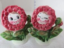 VINTAGE ADORABLE ANTHROPOMORPHIC  PY JAPAN ROSE SALT AND PEPPER SHAKERS