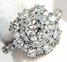 GIA Certified 1.70ct Cushion Cut diamond ring E/VS 14kt Cluster petite