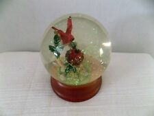 Vintage Red Cardinal and Babies  Snow Globe With Wooden Base