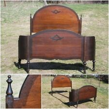 Antique Solid Wood Double Full Bed Headboard & Wrap-Around Curved Footboard 1900