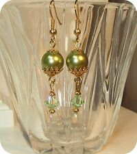 made w SWAROVSKI Light Green Crystal and Pearl Element Earrings  Golden accents
