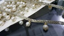 2.5cm- 1 meter Beautiful Ivory pearls and gold diamante rings fringe lace trim